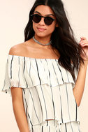 Sunbather White Striped Off-the-Shoulder Top 1
