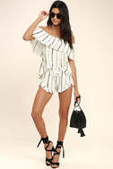 Sunbather White Striped Off-the-Shoulder Top 2