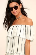 Sunbather White Striped Off-the-Shoulder Top 3