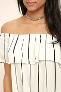 Sunbather White Striped Off-the-Shoulder Top 4