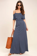 Life's Wonders Denim Blue Off-the-Shoulder Maxi Dress 2