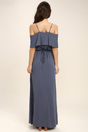 Life's Wonders Denim Blue Off-the-Shoulder Maxi Dress 4