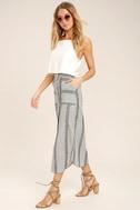 Love Sweet Love Grey Striped Midi Skirt 3