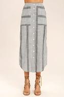 Love Sweet Love Grey Striped Midi Skirt 5