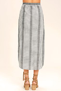 Love Sweet Love Grey Striped Midi Skirt 4
