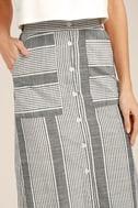 Love Sweet Love Grey Striped Midi Skirt 6