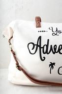 Adventure Ahead Tan and Cream Weekender 2