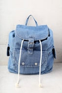 Rock with You Blue Denim Backpack 2