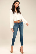 Cacti On You Medium Wash Embroidered Skinny Jeans 2