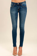 Cacti On You Medium Wash Embroidered Skinny Jeans 3