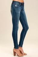 Cacti On You Medium Wash Embroidered Skinny Jeans 4
