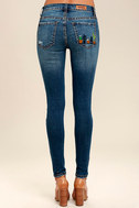 Cacti On You Medium Wash Embroidered Skinny Jeans 5
