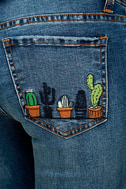 Cacti On You Medium Wash Embroidered Skinny Jeans 7