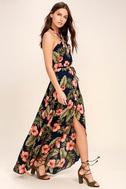 Splendorous Navy Blue Floral Print Halter Wrap Dress 2