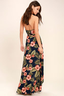 Splendorous Navy Blue Floral Print Halter Wrap Dress 3
