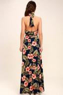 Splendorous Navy Blue Floral Print Halter Wrap Dress 4