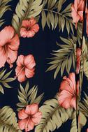Splendorous Navy Blue Floral Print Halter Wrap Dress 6