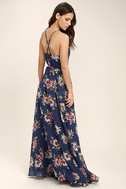 Always There For Me Navy Blue Floral Print Wrap Maxi Dress 3