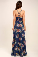 Always There For Me Navy Blue Floral Print Wrap Maxi Dress 4