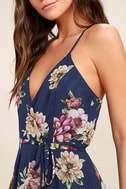 Always There For Me Navy Blue Floral Print Wrap Maxi Dress 5