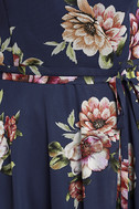 Always There For Me Navy Blue Floral Print Wrap Maxi Dress 6