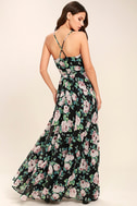 Legendary Romance Black Floral Print Wrap Maxi Dress 3