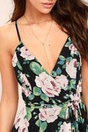 Legendary Romance Black Floral Print Wrap Maxi Dress 5