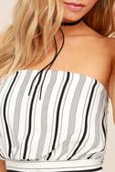 Showcase White Striped Strapless Crop Top 5