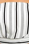 Showcase White Striped Strapless Crop Top 6