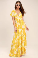 Heart of Marigold Yellow Floral Print Wrap Maxi Dress 1