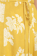 Heart of Marigold Yellow Floral Print Wrap Maxi Dress 6