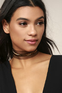 Vanessa Mooney Jean Gold and Black Choker Necklace 1