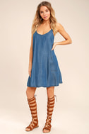 Sing to Me Blue Chambray Swing Dress 2