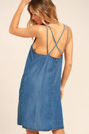 Sing to Me Blue Chambray Swing Dress 3