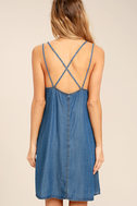 Sing to Me Blue Chambray Swing Dress 4