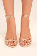 Damita Nude Suede Ankle Strap Heels 2