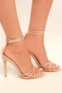 Damita Nude Suede Ankle Strap Heels 3