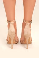 Damita Nude Suede Ankle Strap Heels 4