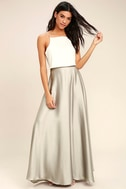 Picture Perfect Light Grey Satin Maxi Skirt 2