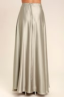 Picture Perfect Light Grey Satin Maxi Skirt 4