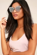 Nice Girls White Marbled Mirrored Cat-Eye Sunglasses 1