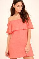Hello Sunshine Coral Orange Off-the-Shoulder Dress 1