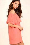 Hello Sunshine Coral Orange Off-the-Shoulder Dress 3