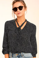 On the Spot Black Polka Dot Button-Up Top 1