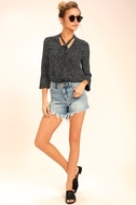 On the Spot Black Polka Dot Button-Up Top 2