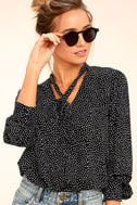 On the Spot Black Polka Dot Button-Up Top 3
