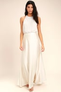 Picture Perfect Cream Satin Maxi Skirt 1