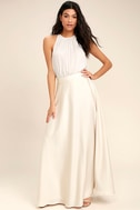 Picture Perfect Cream Satin Maxi Skirt 2