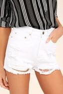 Wreck-Reational Activity White Destroyed Denim Shorts 1