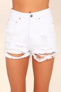 Wreck-Reational Activity White Destroyed Denim Shorts 5